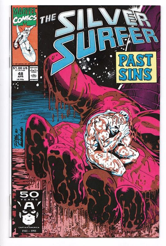 Silver Surfer #48 - Drax / Thanos / Infinity Gauntlet (Marvel, 1991) - VF/NM
