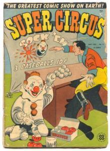 Super Circus #3 1951-Clown cover- Golden Age G+