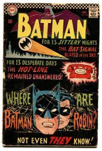 Batman #184 1966. comic book DC Comics-Bat signal cover-Silver Age