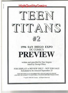TEEN TITANS #2 Black and White Promo, 1996, VF/NM, Preview, more in our store