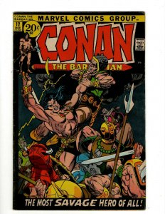 Conan The Barbarian #12 FN/VF Marvel Comic Book Barry Smith Kull King Sword NP16