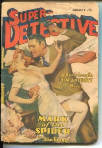 Super-Detective 8/1942-WWII era-Jim Anthony story-John Grange-hero pulp-GGA-FR/G