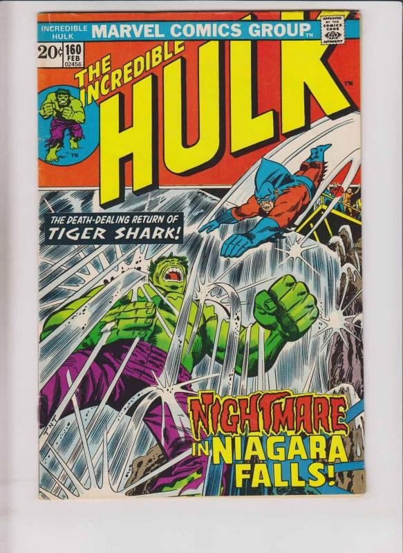Incredible Hulk #160 VG/FN vs tiger shark - niagara falls - steve englehart