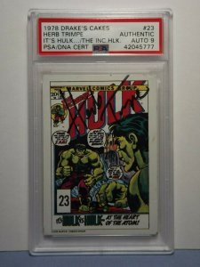 1978 Drake's Cakes Card #23 Incredible Hulk HERB TRIMPE AUTO 9 PSA/DNA Marvel