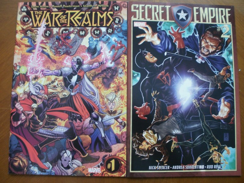 2 NEW Mint Marvel Comic: WAR OF THE REALMS #1 Asgard Midgard & SECRET EMPIRE #2