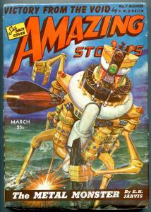 Amazing Stories Pulp March 1943- Metal Monster- Fuqua cover VG/F