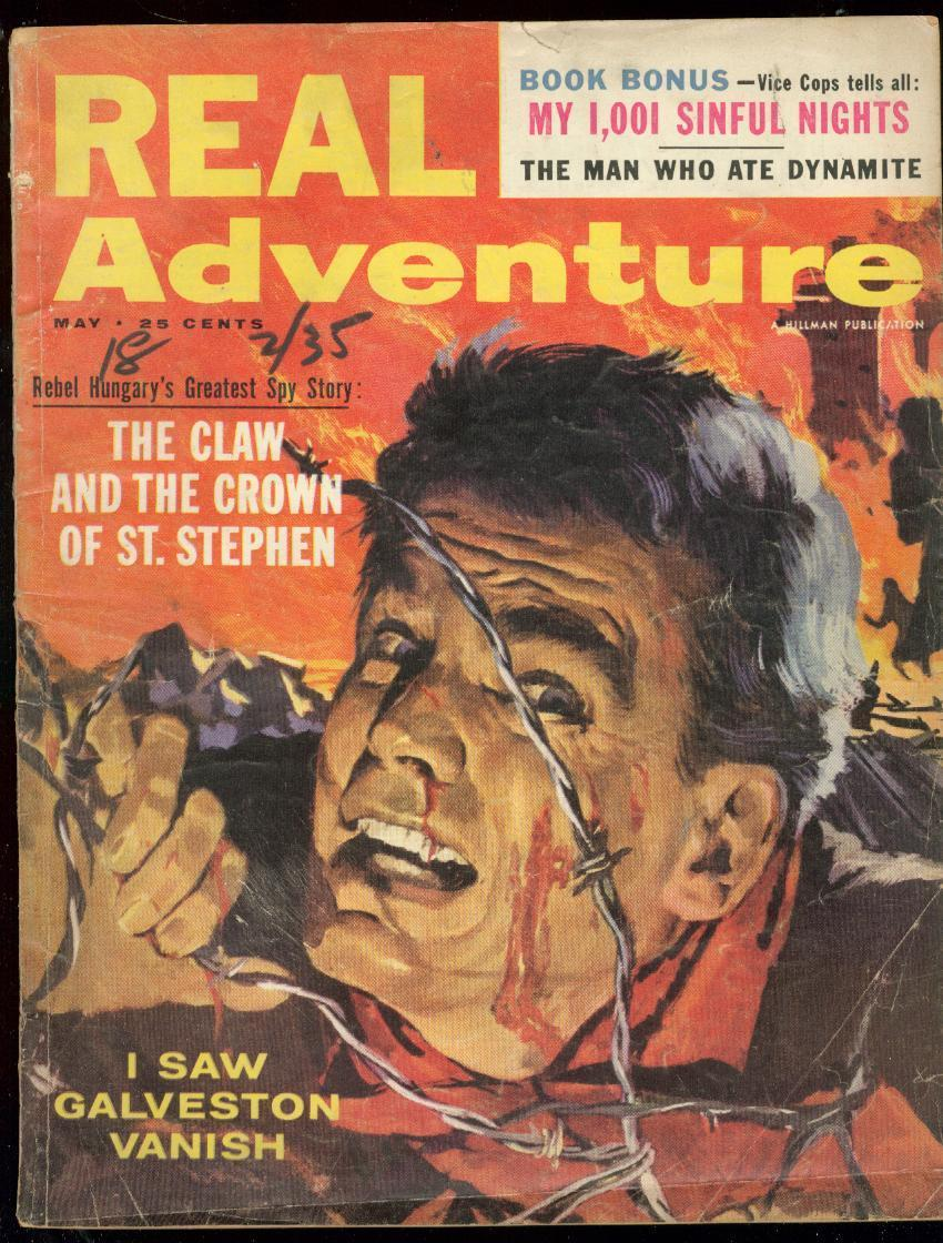 REAL ADVENTURE MAY 1957-BRUTAL BARBED WIRE COVER-PIN UP G/VG / HipComic