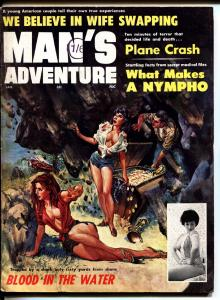 Man's Adventure 1/1964-Stanley-wild spicy cover-cheesecake-pulp thrills