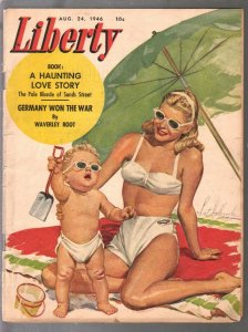 Liberty 8/24/1946-pulp fiction-Pat HolbrooK swimsuit cover-early feature on horr