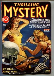 Thrilling Mystery Winter 1943-Weird menace-Pulp Magazine Skeleton cover