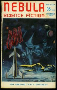 Nebula Science Fiction December 1958- British Pulp Rocket cover G/VG