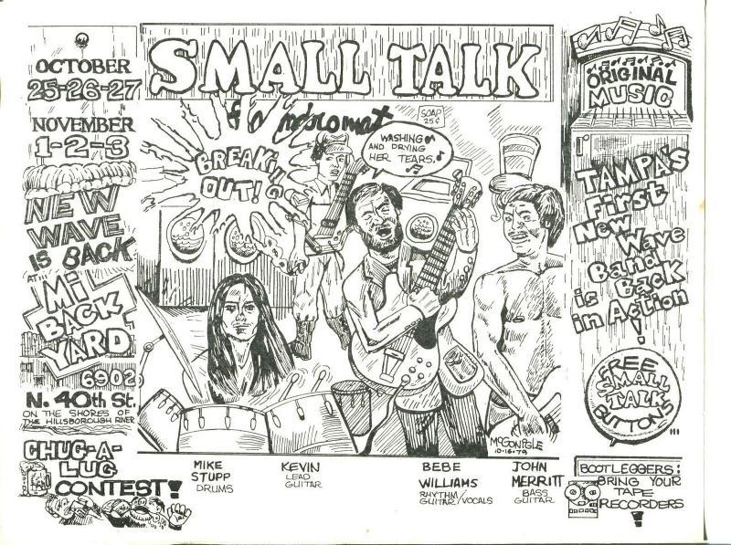 Small Talk Rock 'n' Roll Band Flyer-Tampa FL-1979-McGonigle art-VG
