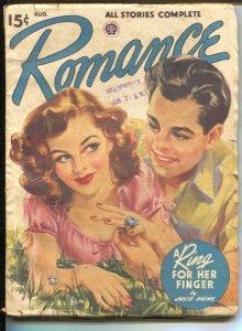 Romance 8/1947-spicy cover art-pulp romance-Viola Cornett-VG