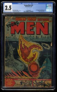 Young Men #25 CGC GD+ 2.5 Return of the Human Torch! Timely Captain America!
