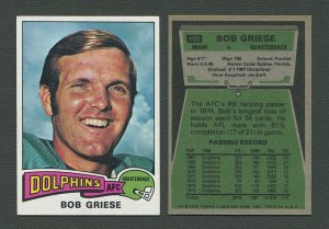 1975 Topps Football /  Bob Griese #100  /  NM+