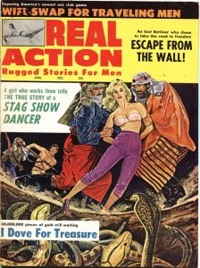 REAL ACTION-APR 1964-ARAB BONDAGE-TERROR-CHEESECAKE--PULP ART-CRIME