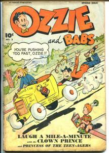 Ozzie and Babs #2 1948-Fawcett-hot rod-Nyoka Comics-teen humor-G