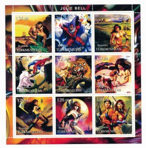 Fantasy Art by Julie Bell Comic Book Heroes stamps, Mint Sheet