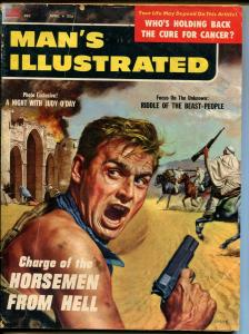 Man's Illustrated 11/1957-Stan Borack-Judy O'Day-pulp violence-gunfight-VG