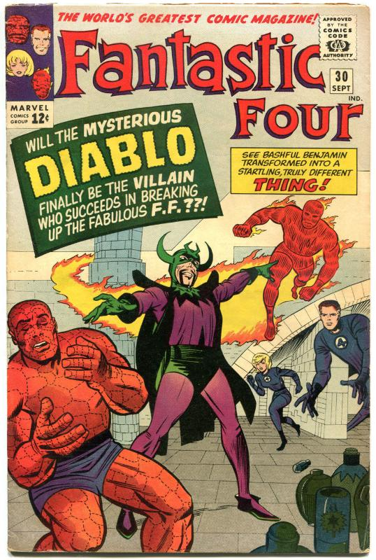 FANTASTIC FOUR #30, FN, Diablo, Thing, Jack Kirby, 1961, more FF in store, QXT