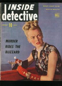 INSIDE DETECTIVE FEB 1946-POISON COVER-TRUE CRIME- VG