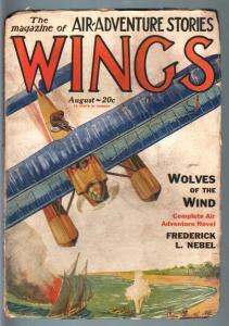 WINGS AUG 1928-#8-SEA PLANE COVER-RARE AVIATION PULP G/VG