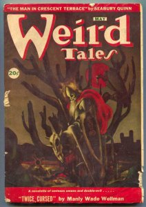 Weird Tales Mayy 1946- Skull cover- Twice Cursed Canadian VG