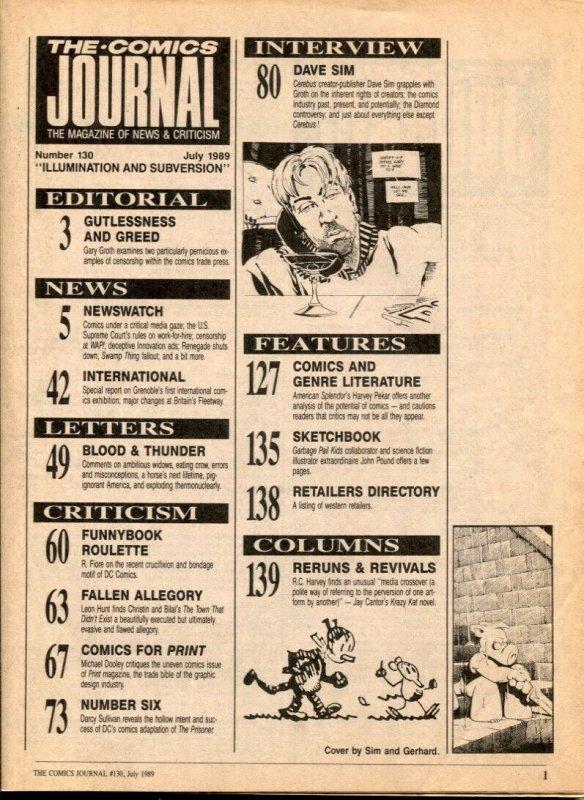 Comics Journal #131 1989- DAVE SIM- Cerebus- comic fanzine VG