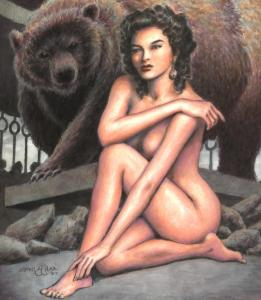 ERNIE CHAN original art, BARE BEAUTY Front Cover, 14x11, 2007, Woman w Grizzle