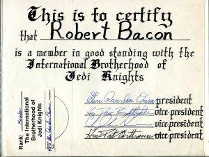Int'l Brotherhood of Jedi Knights 4/1982-rare membership certificate & card-FN