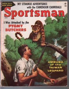 Sportsman 1/1957-Atlas-pygmy butchers-Rudolph Berlarski-cannibals-Frank Bolle-VG