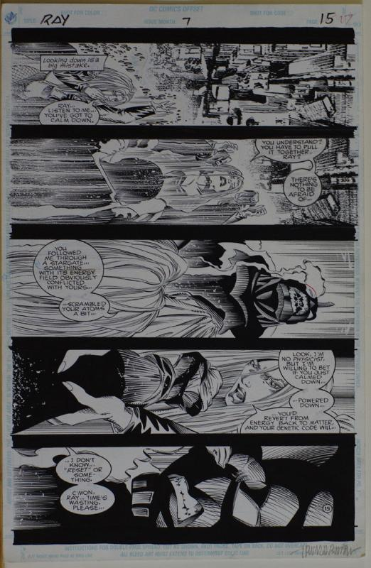 HOWARD PORTER / ROBERT JONES original art, RAY #7 pg 15, 11x 17, 1994, Signed