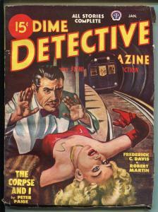 Dime Detective 1/1949-Popular-pulp mystery-John D MacDonald-Blassingame-VG