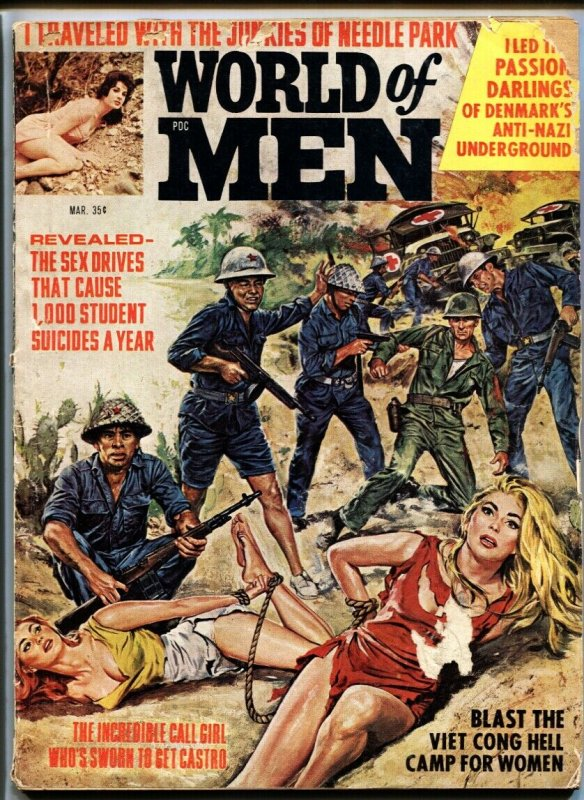 World of Men March 1967 GGA bound babes menaced by Commies!