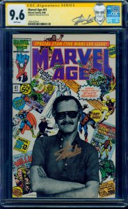 Marvel Age #41 CGC SS 9.6  Signed by Stan Lee in GOLD! Stan Lee Custom Label!