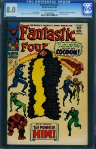 FANTASTIC FOUR #67-1967--CGC 8.0- HIM/WARLOCK ORIGIN 0238489002