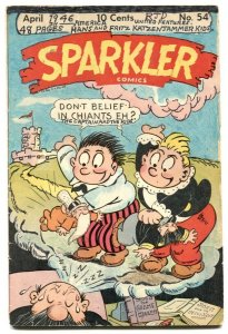 Sparkler #54 1946- Sparkman- Tarzan- weird hand colored cover