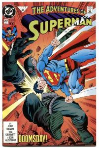 ADVENTURES OF SUPERMAN #497-DOOMSDAY COVER-DC-HTF-2nd PRINTING!