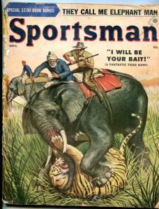 Sportsman November 1955-ELEPHANT & TIGER COVER-BELARSKI ART FR