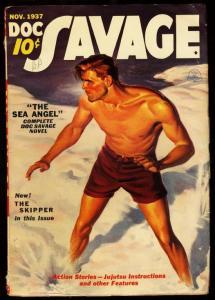 DOC SAVAGE 1937 NOV-CLASSIC COVER-PULP - SEA ANGEL-RARE FN