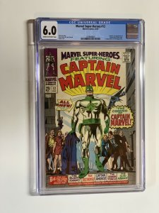 Marvel Super-heroes 12 Cgc 6.0 Cr/ow Pages Silver Age Captain Marvel
