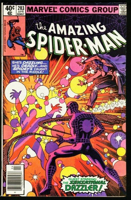 AMAZING SPIDER-MAN #203-1980-DAZZLER-MARVEL-fine/very fine FN/VF
