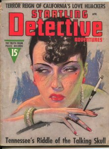 Startling Detective Adventures 4/1938-evil female cover-Talking Skull-crime -...