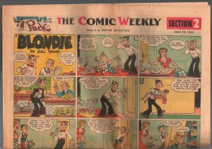 Boston Advertiser Comic Weekly -Comic Section 2 6/19/1949-Blondie-Lone Ranger-VG