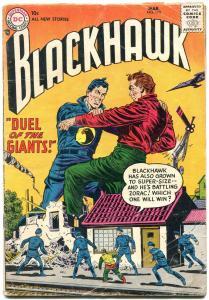 BLACKHAWK #110 1957-DC COMICS-DUEL OF GIANTS-3RD DC ISS VG-