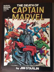 GRAPHIC NOVEL 1 DEATH OF CAPTAIN MARVEL 1ST PRINT NM- SIGNED STARLIN!