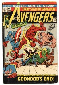 AVENGERS #97-comic book-Captain America-Human Torch-1972