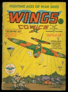 WINGS #4 1940-FICTION HOUSE-NAZI COVER-PARACHUTE PATROL VG
