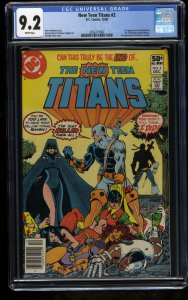 New Teen Titans #2 CGC NM- 9.2 White Pages 1st Deathstroke Newsstand Edition!
