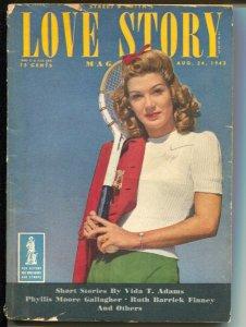 Love Story 8/24/1943-pulp thrills-tennis girl photo cover-Daisy Bacon editor-G-